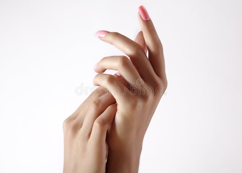 Mooie vrouwen` s handen op lichte achtergrond Zorg over hand Tedere palm Natuurlijke manicure, schone huid Roze spijkers stock afbeeldingen