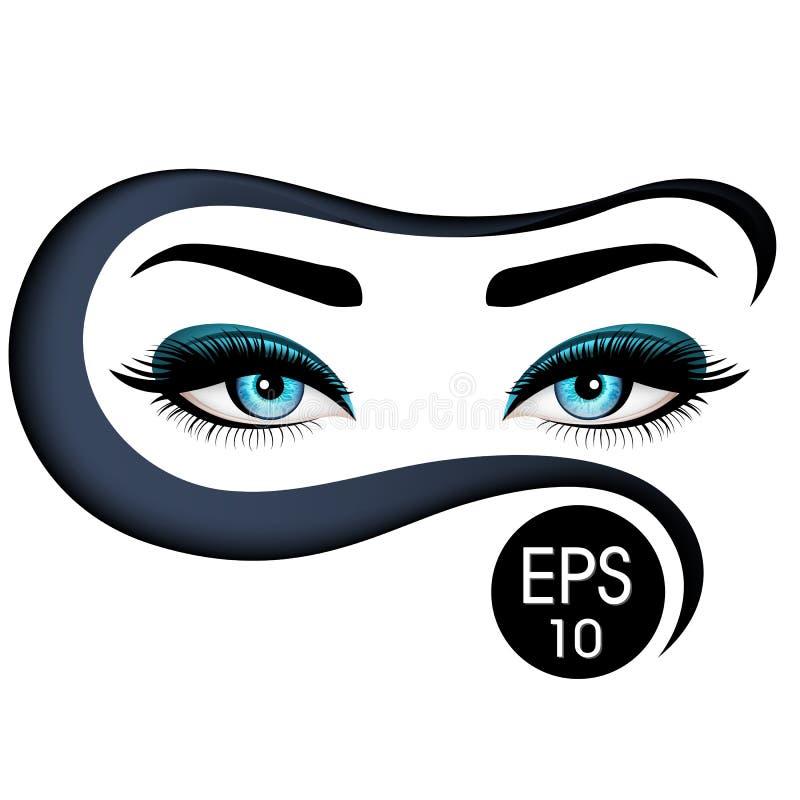 Mooie Vrouwen` s ogen in niqab Vector illustratie Realistische blauwe ogen met elegante wimpers royalty-vrije illustratie