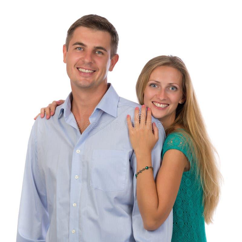 Mooie vrouwen vrolijke man liefdestudio stock afbeelding