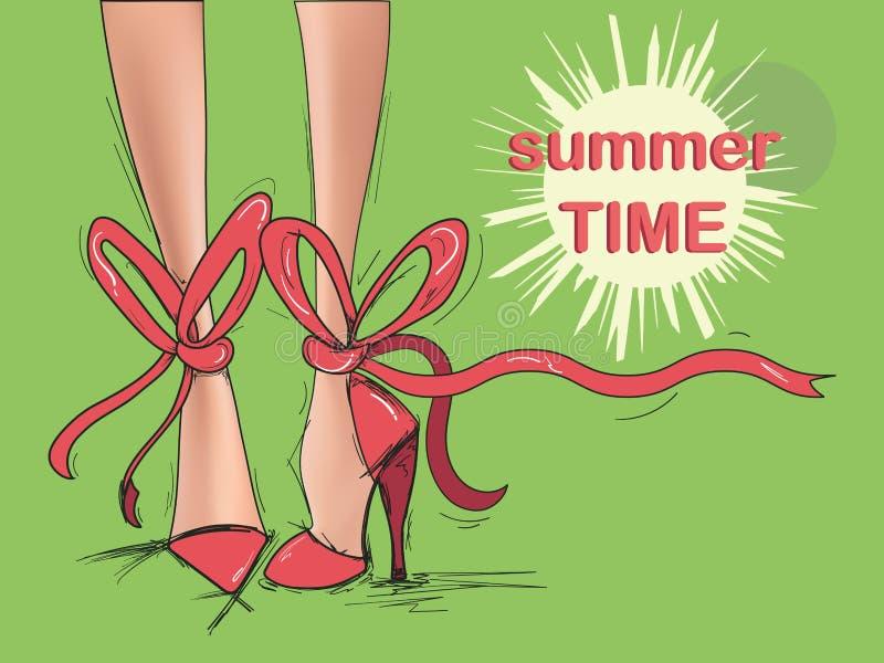 Mooie vrouwenbenen in rode schoenenvector vector illustratie