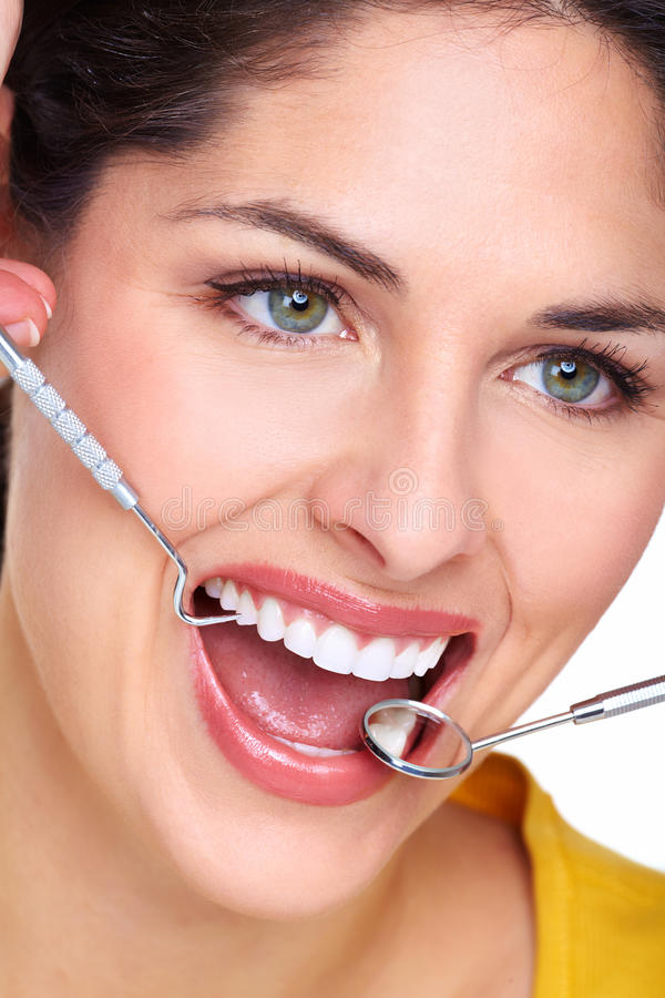 Mooie vrouwenglimlach. stock foto's
