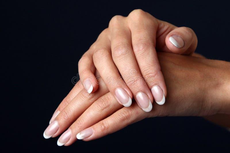 Mooie vrouwenhand met Franse manicure stock fotografie