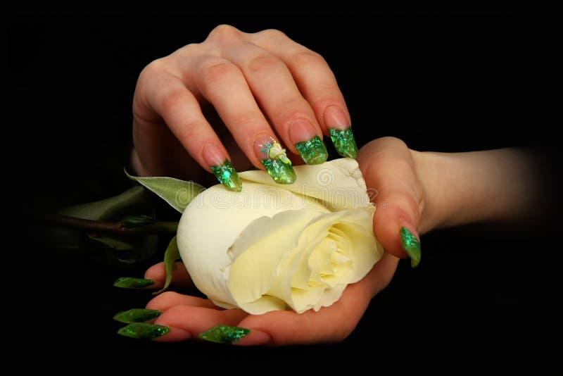 Mooie vrouwenhand met perfecte geschilderde spijkers op zwarte achtergrond royalty-vrije stock afbeeldingen