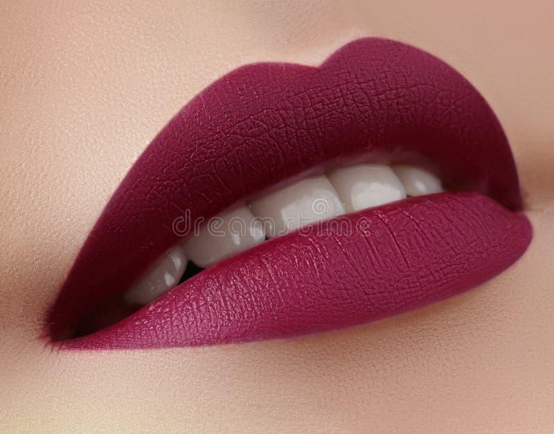 Mooie Vrouwenlippen met de Lippenstift van de de Wijnstokkleur van de Maniermarsala Schoonheidsmiddel, Samenstellingsconcept Scho royalty-vrije stock afbeeldingen