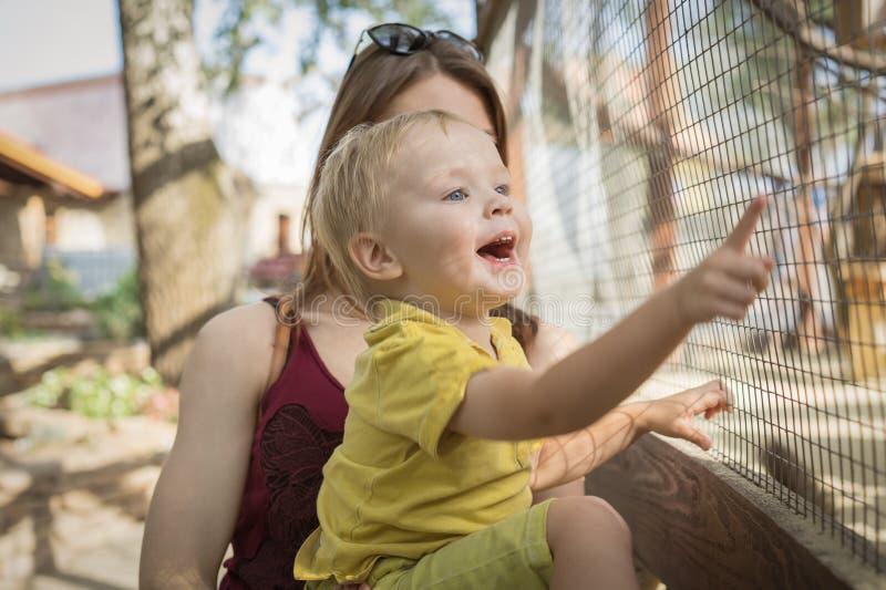 Mooie vrouwenmoeder die haar gelukkige jongenszoon houdt, die het tonen op een dier in een kooi in de dierentuin glimlacht royalty-vrije stock afbeeldingen