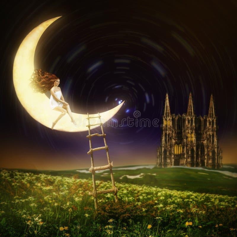 Mooie vrouwenzitting op maan stock foto