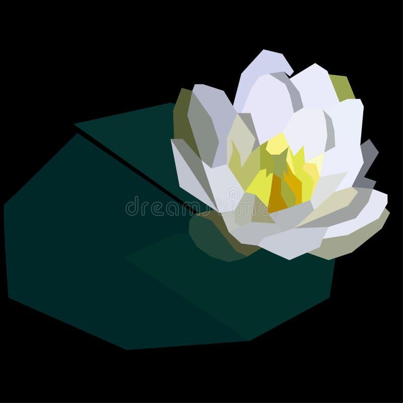 Mooie waterlelie in lage polystijl vector illustratie