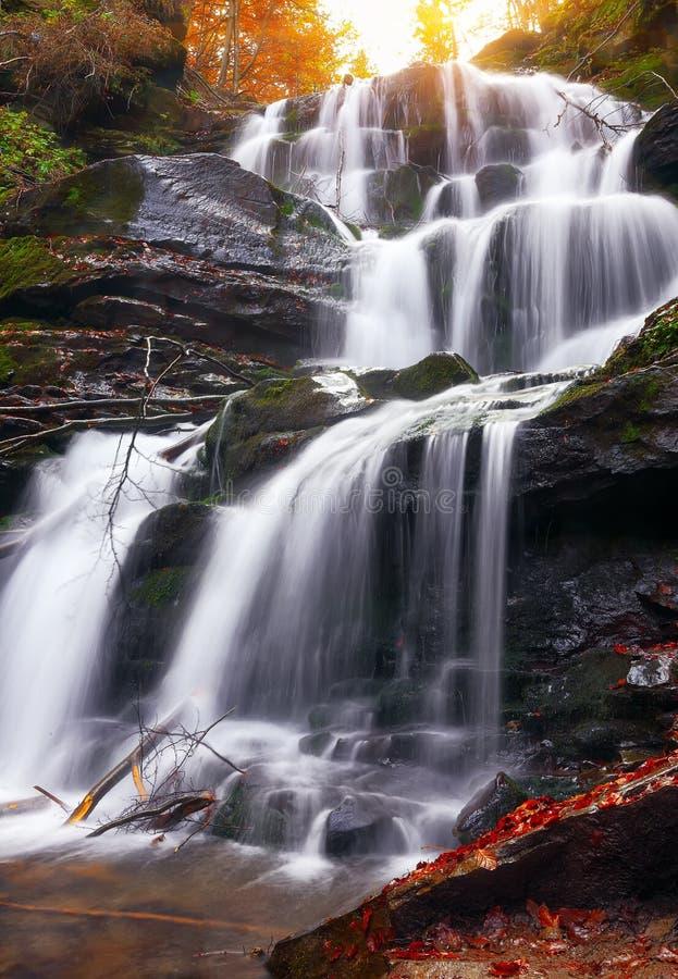 Mooie waterval in bos, de herfstlandschap stock fotografie