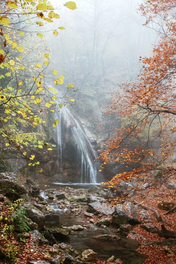 Mooie waterval in de herfstbos in Krimbergen Stenen met mos in het water stock afbeeldingen