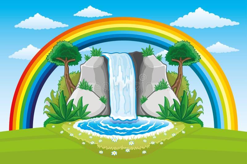 Mooie waterval en regenboog stock illustratie