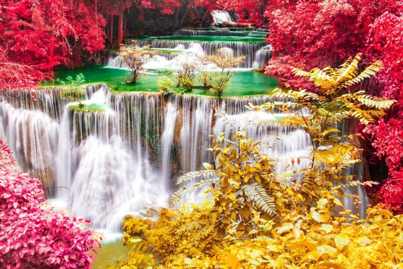 Mooie waterval in prachtig de herfstbos van nationaal park, de waterval van Huay Mae Khamin, Kanchanaburi-Provincie, Thailand stock afbeelding