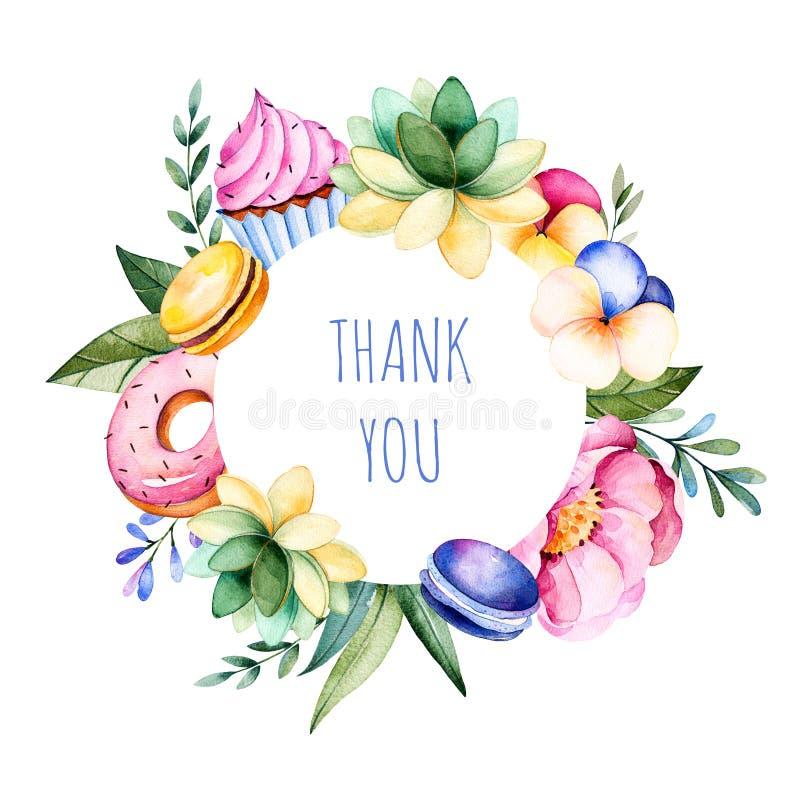 Mooie waterverf om kadergrens met pioen, bloem, gebladerte, succulente installatie, takken, smakelijke cupcakes, viooltjebloem, m vector illustratie