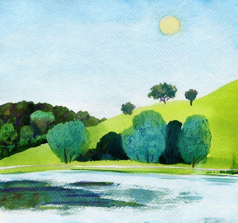 Mooie waterverf van openbaar park met duidelijk meer in daglicht royalty-vrije illustratie