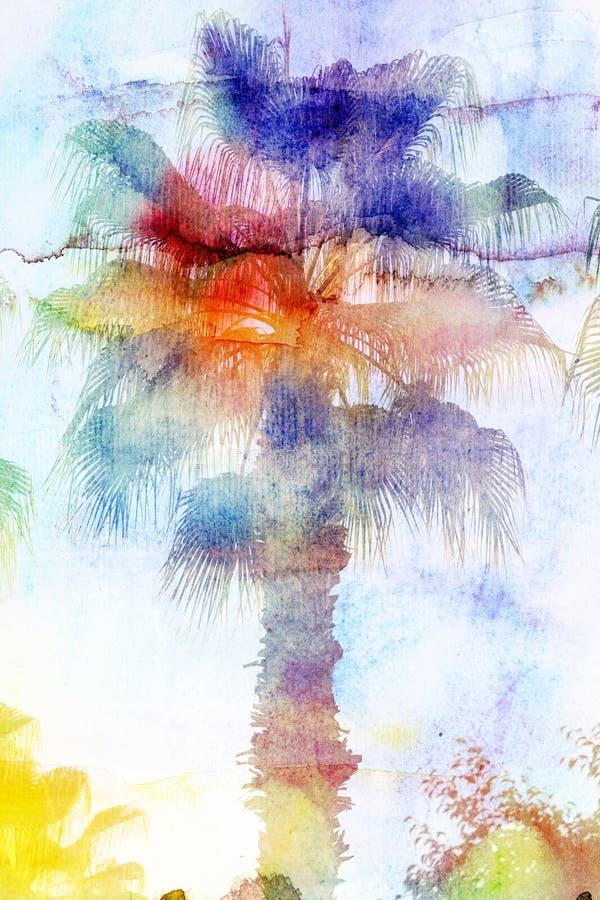 Mooie waterverfpalmen royalty-vrije illustratie