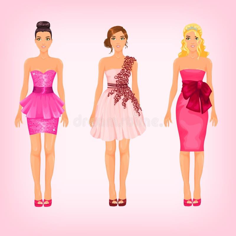 Mooie wijfjes in verschillende roze kleding stock illustratie