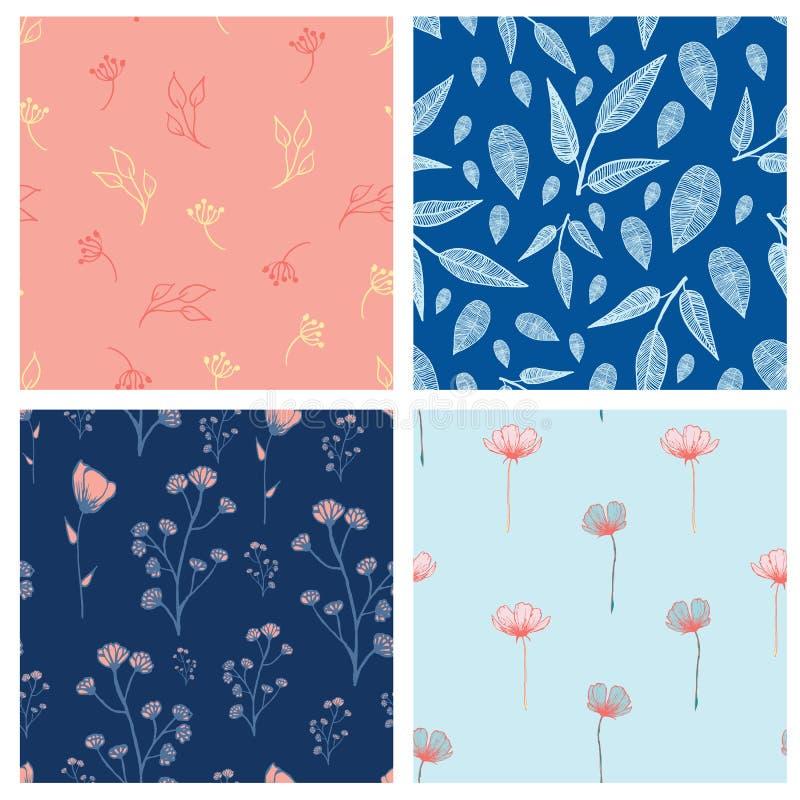 Mooie wilde bloemen en bladeren naadloze patroonontwerpset stock illustratie