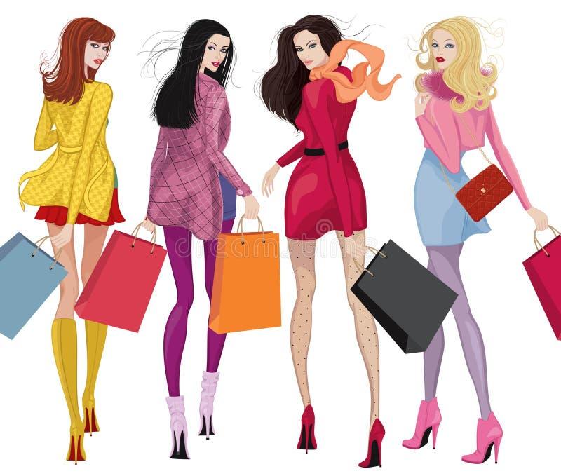 Mooie winkelende meisjes vector illustratie