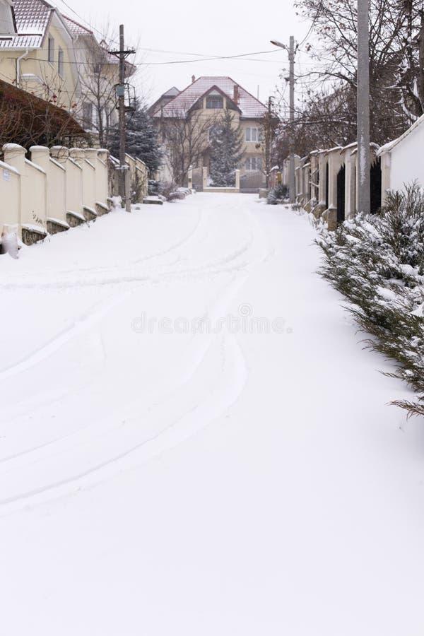 Mooie winterstraat royalty-vrije stock fotografie
