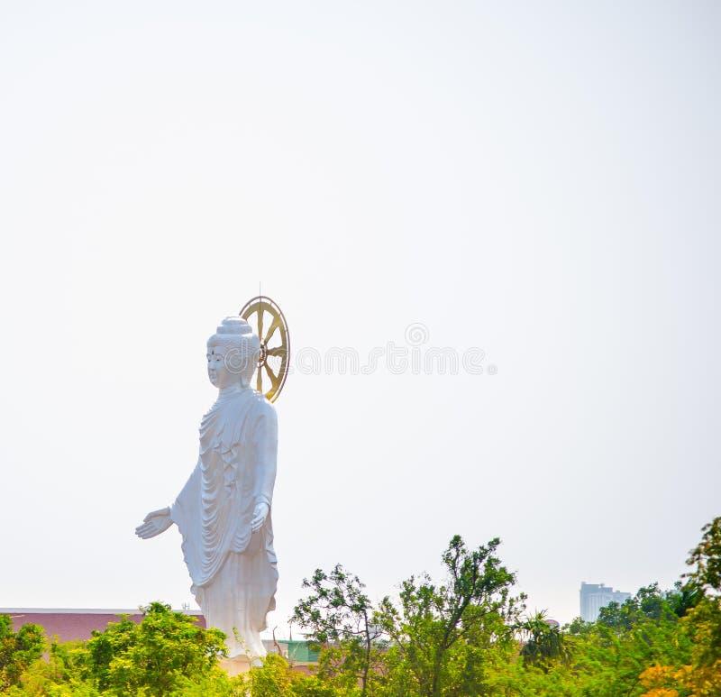 Mooie witte het standbeeld van Boedha status geïsoleerd op witte hemelachtergrond stock foto