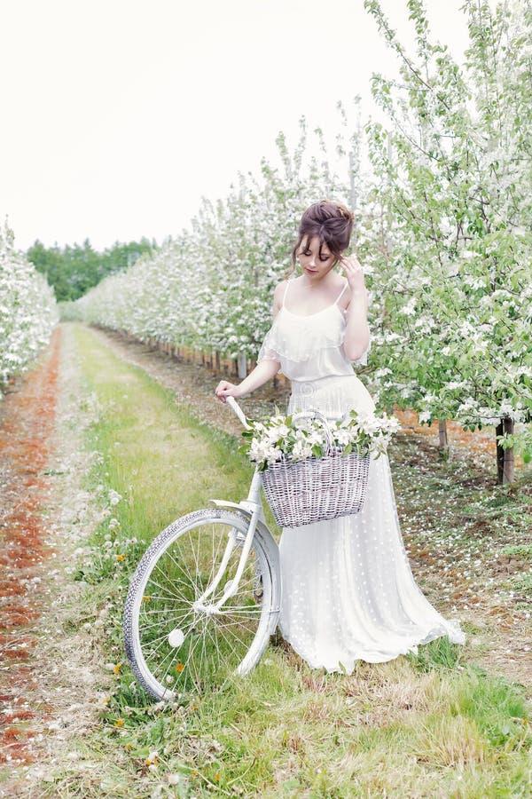 Mooie zachte mooie meisjesbruid in een witte kleding die zich met zijn fiets in tot bloei komende appelboomgaard bevindt stock foto