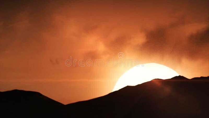 Mooie Zandduinen in Sahara Desert Mooie zonsondergang in de bergen Het kleurrijke landschap met zon, sinrise of stock foto