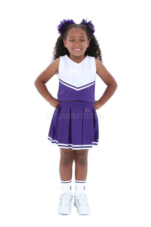 Mooie Zes Éénjarigen Cheerleader over Wit royalty-vrije stock foto