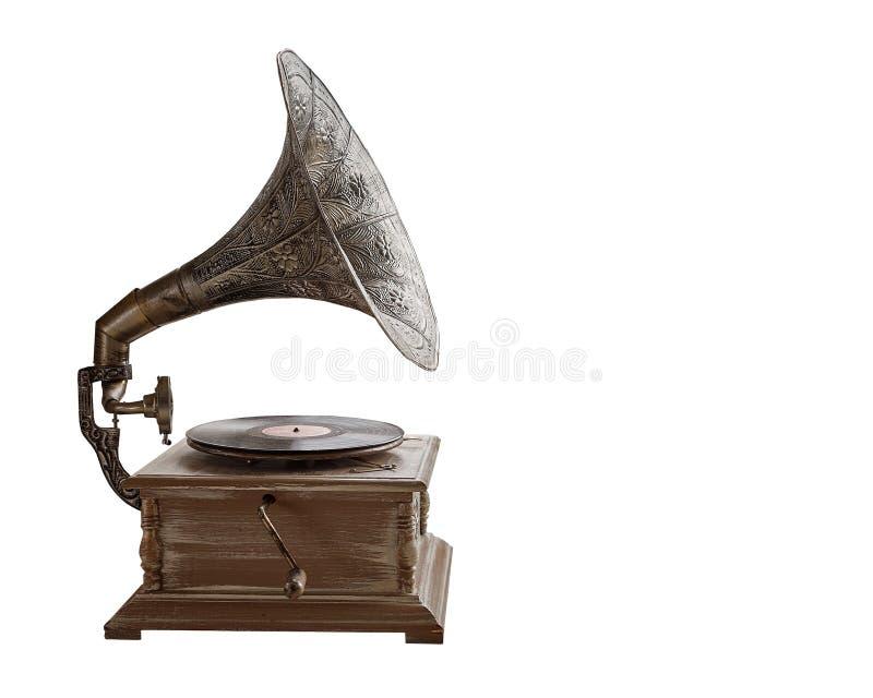 Mooie zilveren uitstekende fonograaf Retro grammofoon op witte achtergrond wordt geïsoleerd die stock afbeeldingen