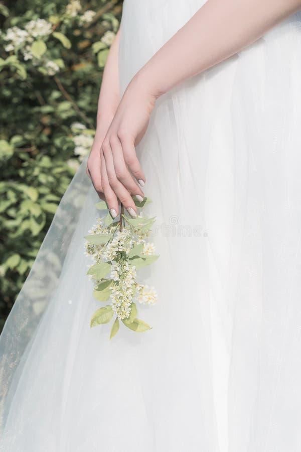 Mooie zoete meisjesbruid in een tedere kleding van het luchthuwelijk in een bloeiende de lentetuin in de stralen van zonlicht bij royalty-vrije stock afbeeldingen