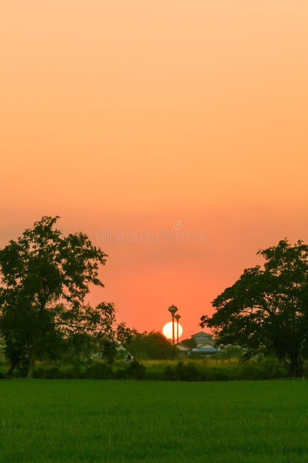 Mooie zon die tijdens een eveinng gloeien stock fotografie