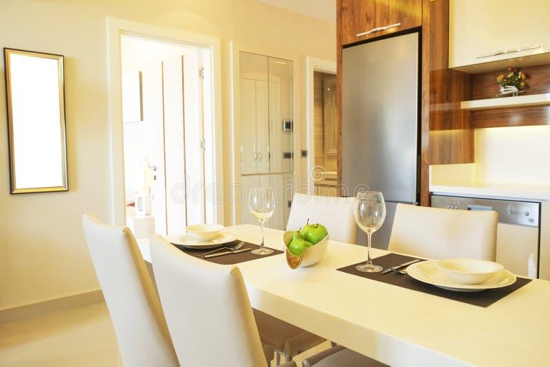Mooie zon zijflat met eenvoudig minimalistic modern binnenlands ontwerp, de open woonkamer van de plankeuken in zonlicht stock foto