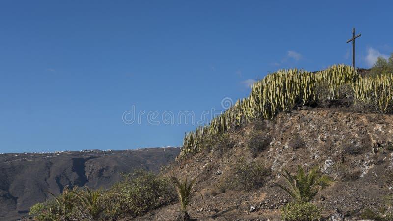 Mooie zonnige dag bij Mirador-La Centinela, mening naar het houten kruis, Tenerife, Canarische Eilanden, Spanje royalty-vrije stock afbeelding