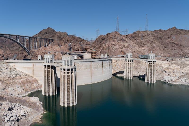 Mooie zonnige mening van de Hoover-Dam dichtbij Las Vegas Nevada, stock fotografie