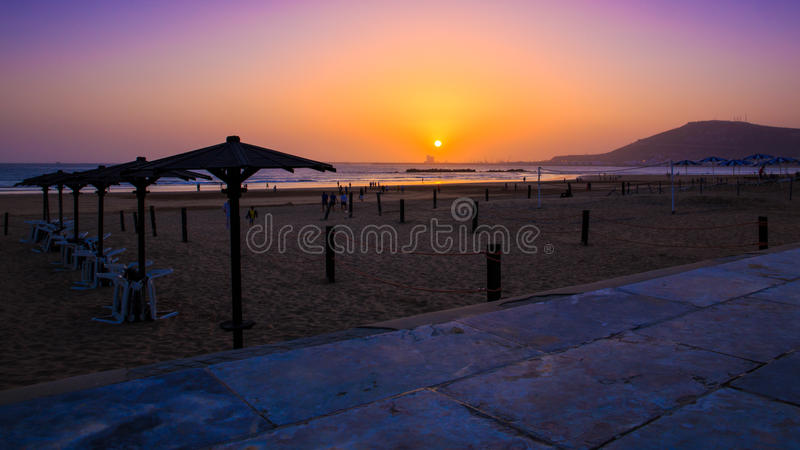 Mooie zonsondergang in Agadir, Marokko stock fotografie