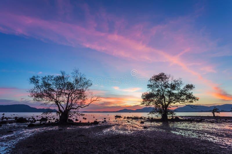 Mooie zonsondergang bij schemeringhemel, silhouetstenen en bomen in Khao Khad, Phuket, Thailand stock foto