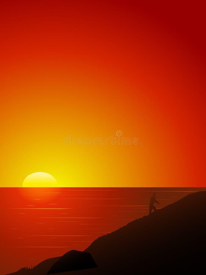 Mooie zonsondergang boven het overzees