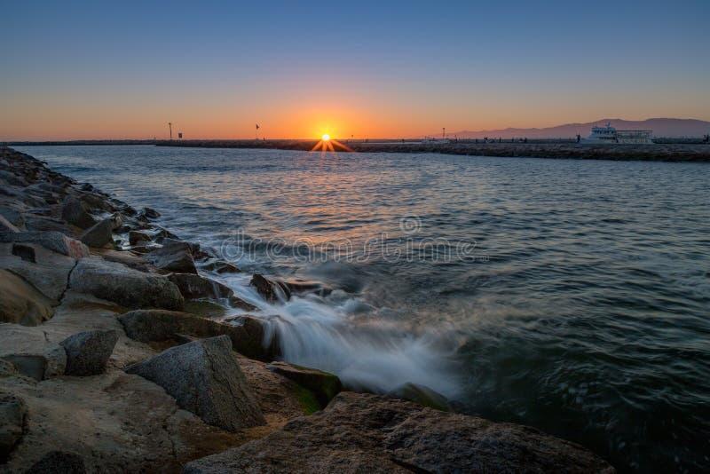 Mooie Zonsondergang in Marina del Rey royalty-vrije stock fotografie