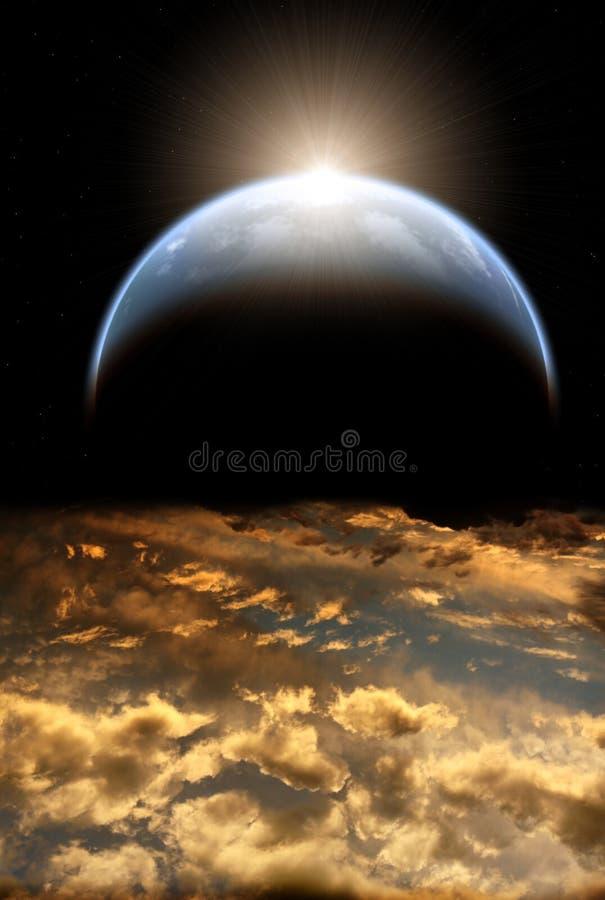 Mooie zonsondergang met onweershemel en planeten stock illustratie