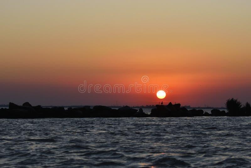 Mooie zonsondergang op de Delta van Donau, stock foto