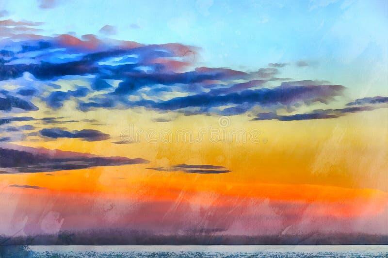 Mooie zonsondergang over Middellandse Zee royalty-vrije illustratie