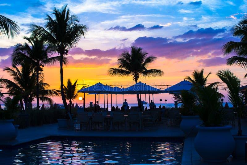Mooie zonsondergang in Providenciales op Turken en royalty-vrije stock fotografie
