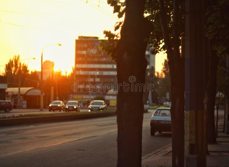 Mooie Zonsondergang Van Zaporizhzhia-Stad in de Oekraïne stock foto's