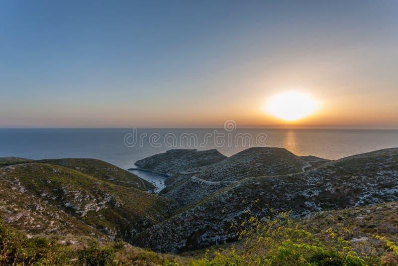 Mooie zonsondergang in zanteeiland stock afbeelding