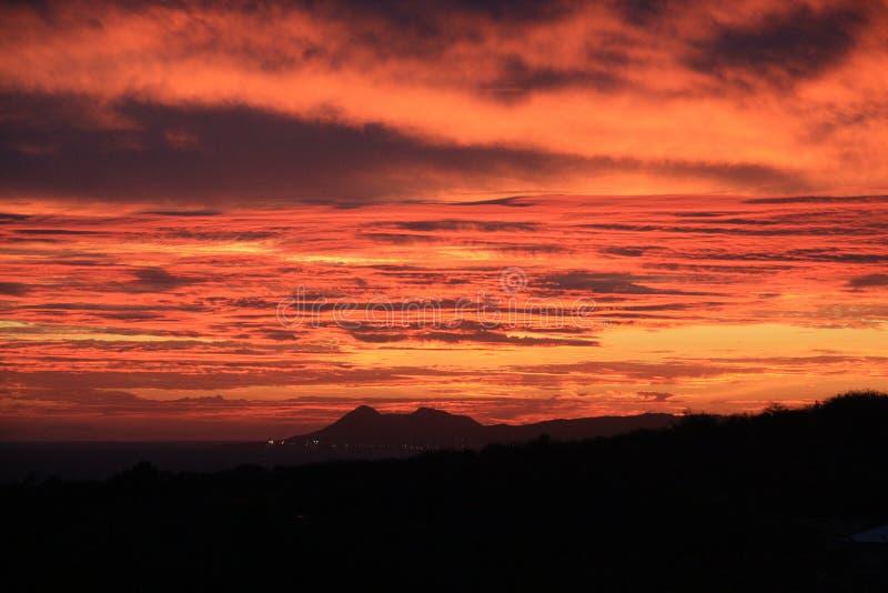 Mooie zonsonderganghemel in Bonaire stock fotografie