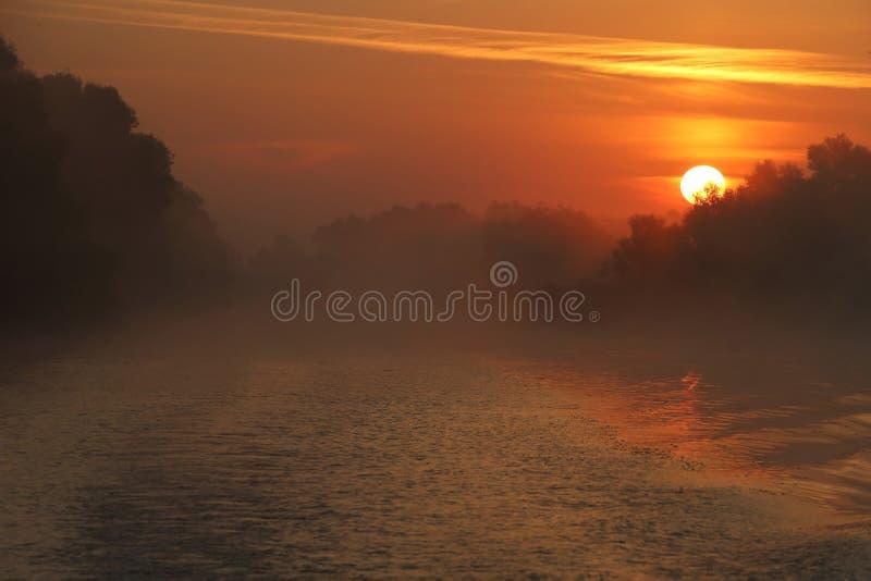 Mooie zonsopgang in de Delta van Donau royalty-vrije stock foto's