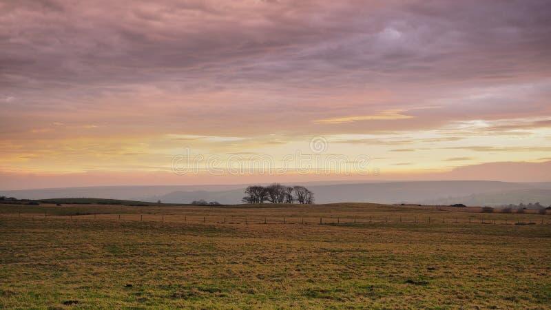Mooie zonsopgang die de wolken over Danby Moor, het Nationaal Park van de Moors van Noord-York verlicht stock foto's