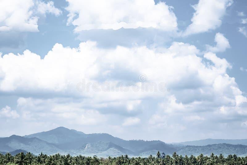 Mooie zonsopgang over de Bergketen Het scenario van de kokosnotenpalm tropische bosaard bij het zuiden van Thailand royalty-vrije stock fotografie