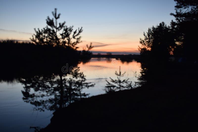 Mooie zonsopgang over de bosrivier stock afbeeldingen