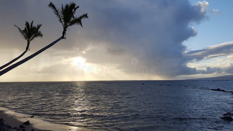 Mooie Zonsopgang over de oceaan met golven die tot rotsachtige Beac leiden royalty-vrije stock foto's