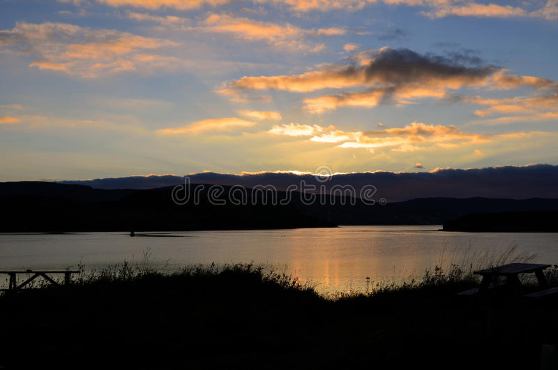 Mooie Zonsopgang over Loch Dunvegan in Schotland royalty-vrije stock afbeeldingen