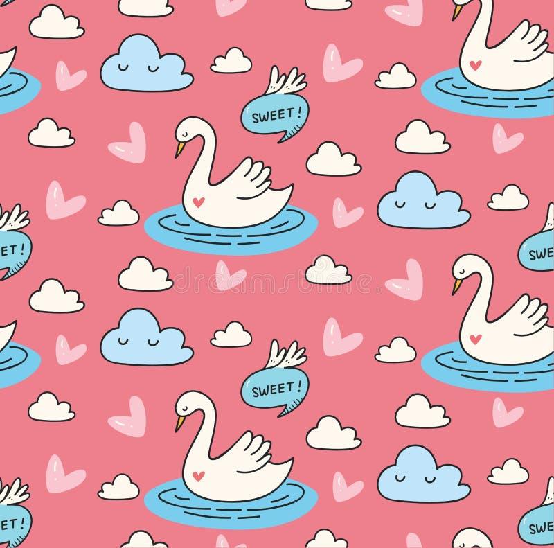 Mooie zwaan in het naadloze patroon van de meerkrabbel royalty-vrije illustratie